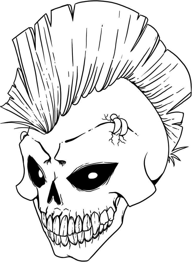735x1000 Skeleton Head Coloring Pages Free Printable Skull Coloring Pages
