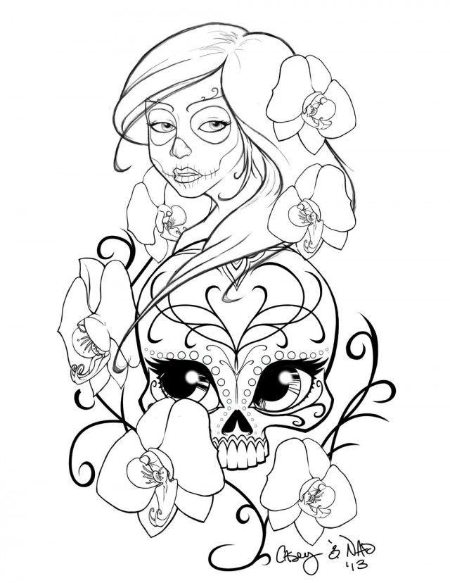640x828 New Sugar Skull Drawing And Coloring Sugar Skull Coloring