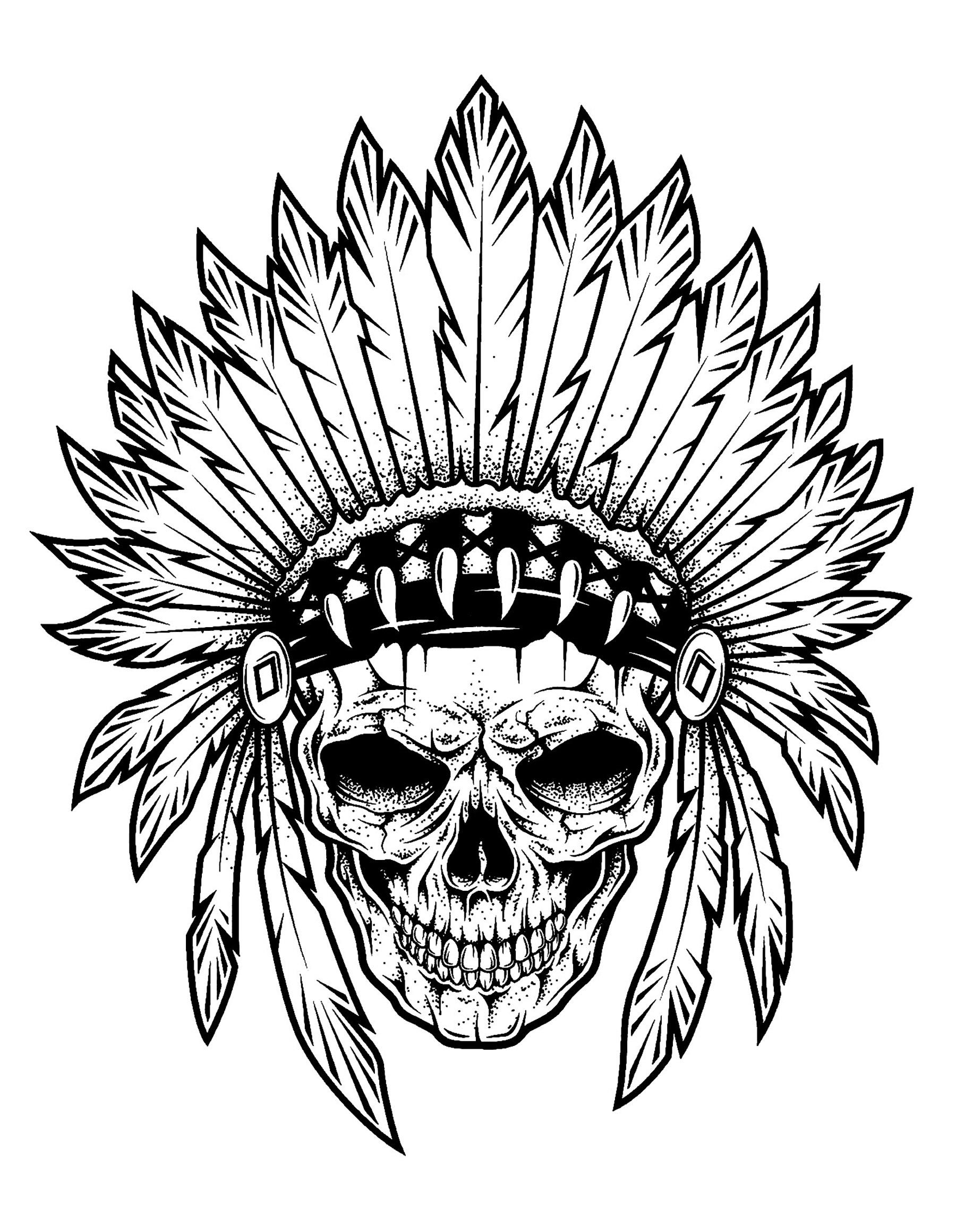 1800x2318 Tattoo Indian Chief Skull