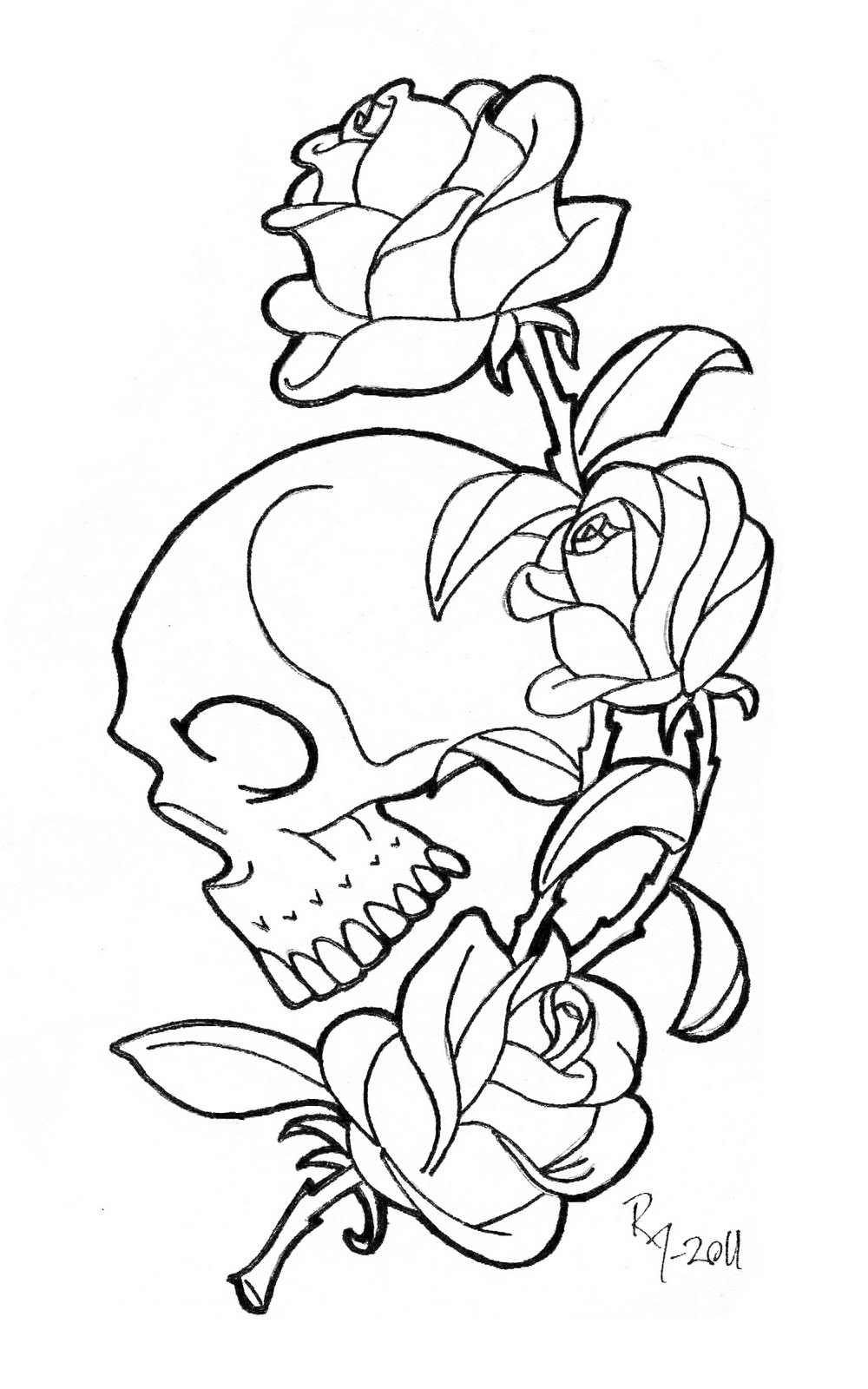 Skull With Roses Coloring Pages