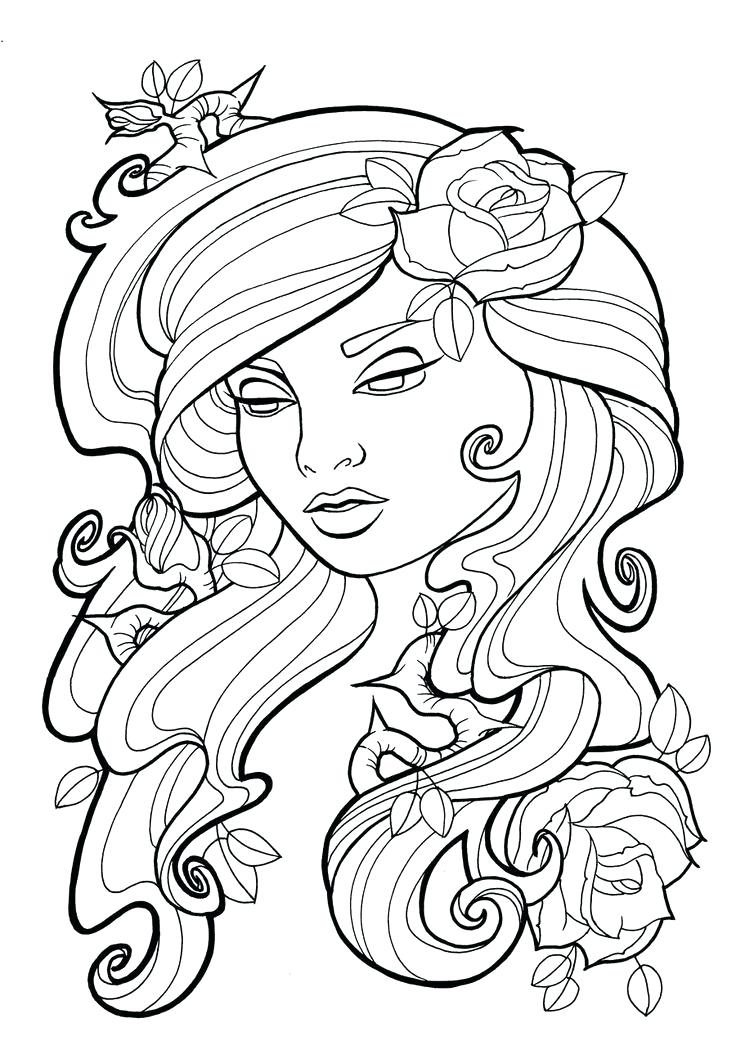 736x1050 Printable Rose Coloring Pages Skulls And Roses Coloring Pages
