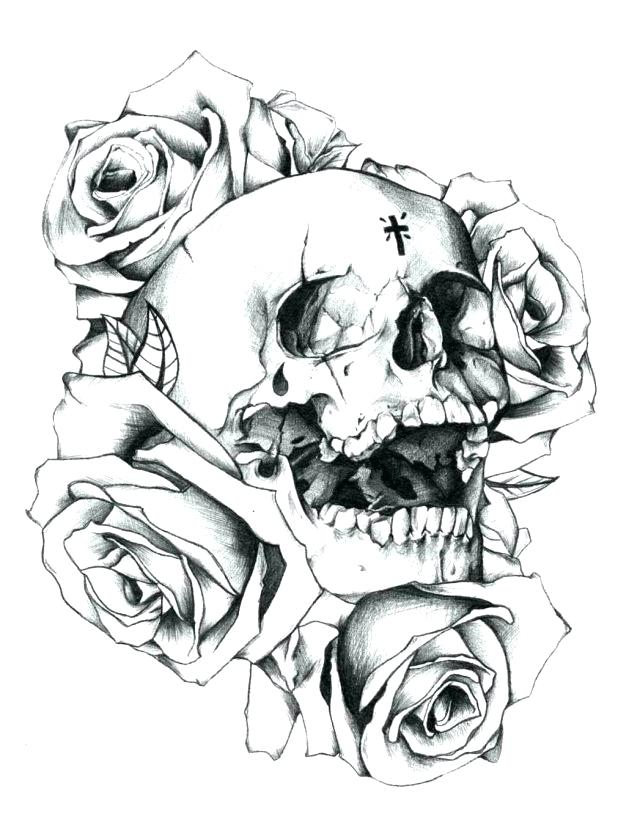 618x831 Roses Coloring Pages Coloring Pages Marvellous Skulls And Roses