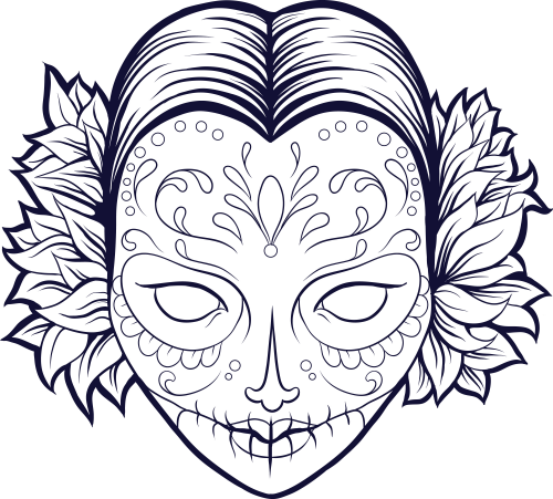 500x451 Skull And Roses Coloring Pages Skull Coloring Pages