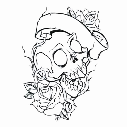 500x500 Skull Tattoo Coloring Pages Clipart Tattoo Ideen Hearts With Roses
