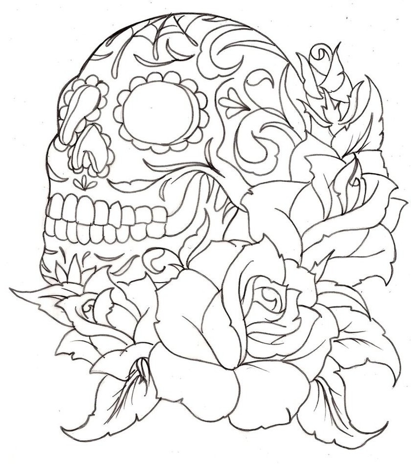 841x949 Skull And Roses Coloring Pages Collection Coloring For Kids