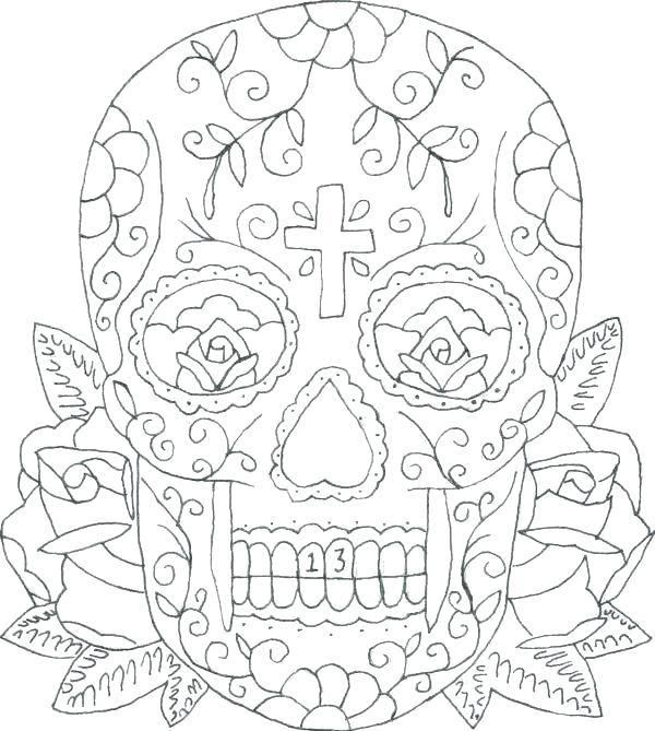600x669 Skulls And Roses Coloring Pages Coloring Pages Skull Sugar Skull