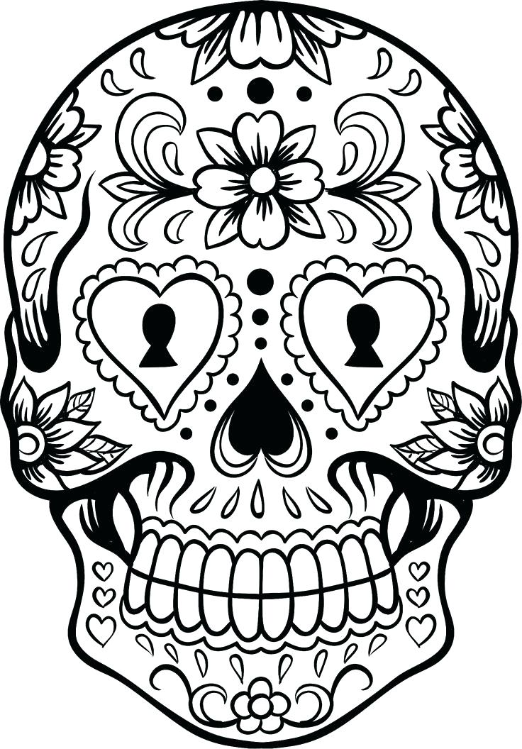 736x1056 Skulls And Roses Coloring Pages Skull Coloring Pictures Sugar