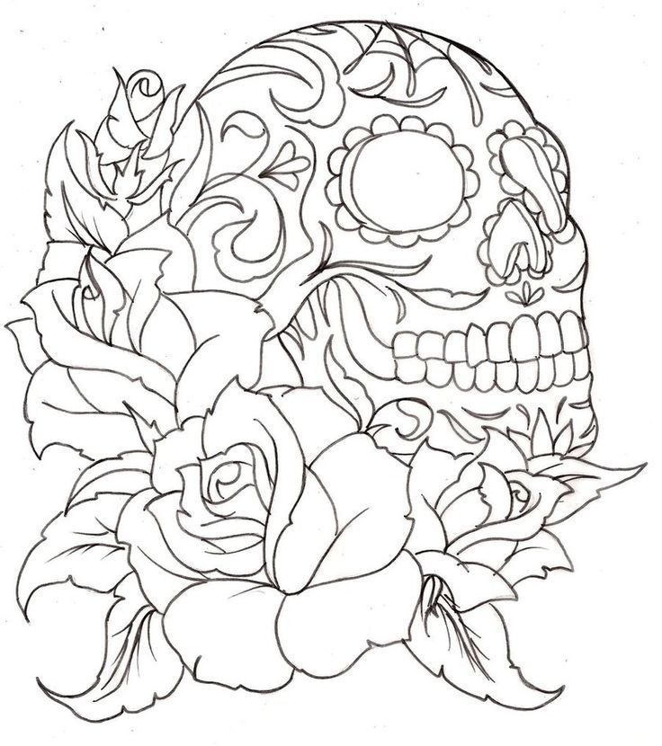 736x830 Flower With Skull Embroidery Flower, Sugar Skulls