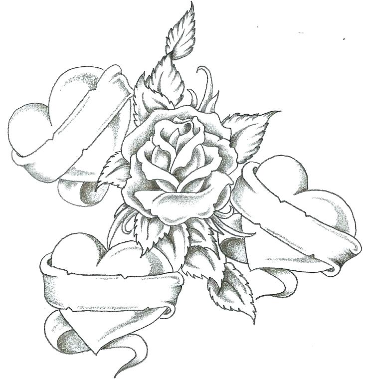 736x764 Coloring Pages Of Roses Coloring Pages Roses Hearts Skulls