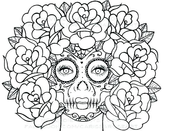 570x440 Coloring Pages Of Skulls Roses Roses Coloring Pages Skull