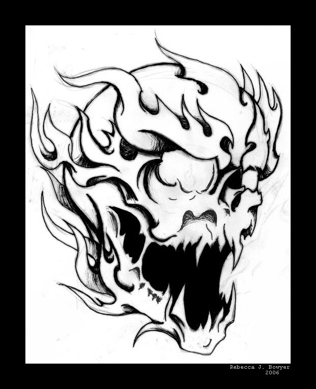 622x766 Flaming Skull Coloring Pages