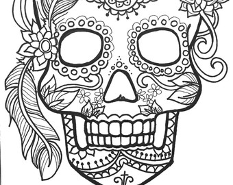 340x270 Impressive Sugar Skull Coloring Pages On Fire Coloringstar
