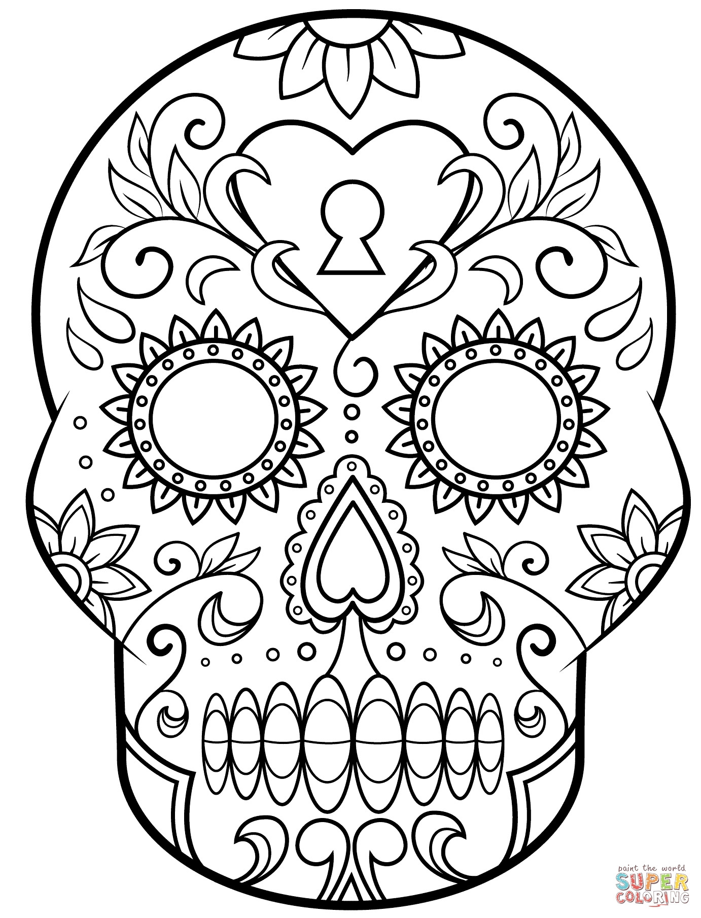 1382x1809 Awesome Coloring Pages Of Sugar Skulls Design Free Simple Cool