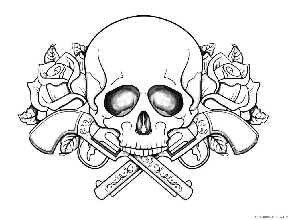 1013x768 Skull Coloring Pages In Fire