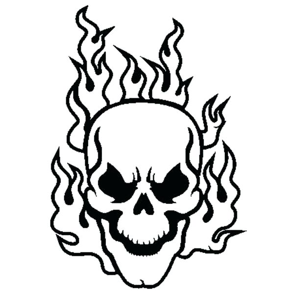 600x600 Coloring Pages Of Skulls With Flames Flaming Skull Coloring Page