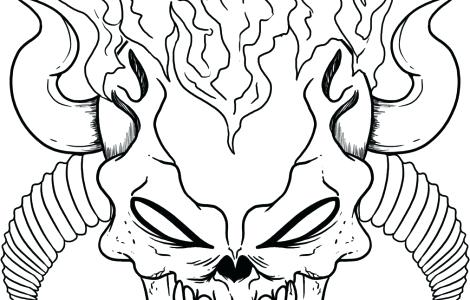470x300 Coloring Pages Of Skulls With Flames Flaming Skull Colouring Pages