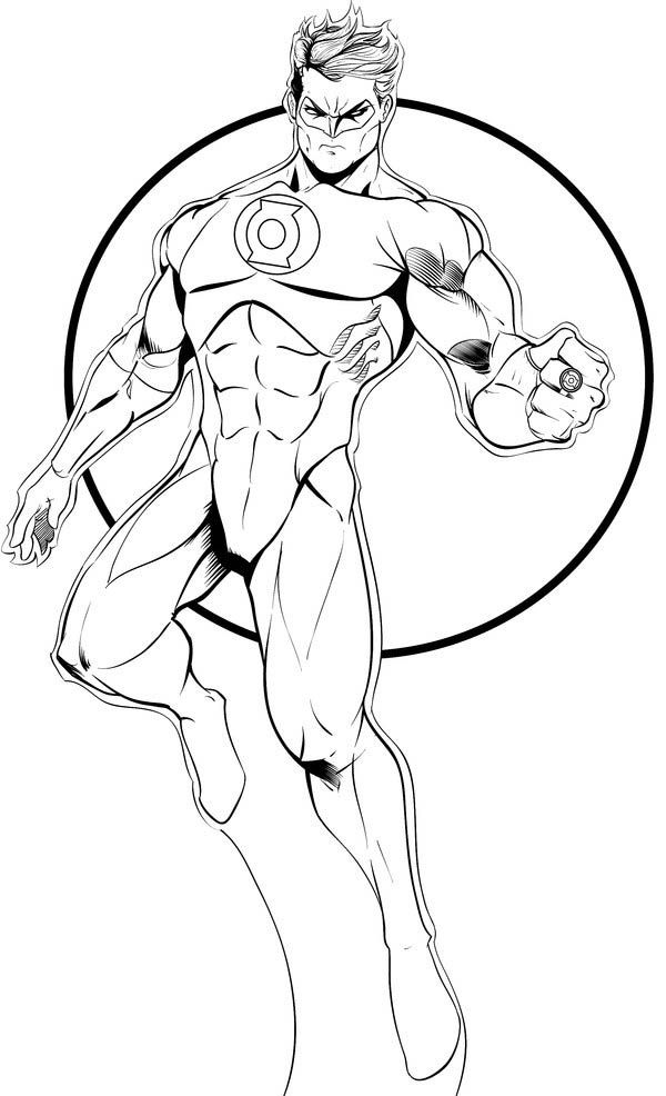 600x986 Green Lantern, Green Lantern Flying In The Sky Coloring Page