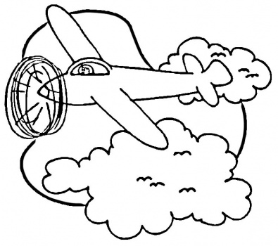 395x350 Airplane In Sky Coloring Page