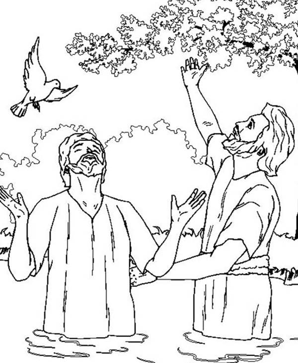 600x730 John The Baptist And Jesus Looking Up The Sky Coloring Page