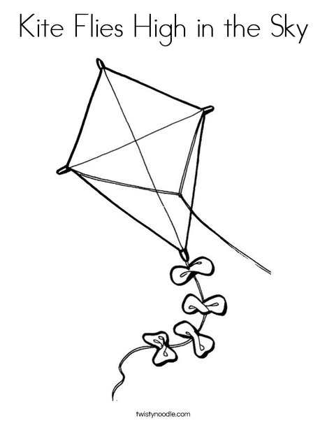 468x605 Kite Flies High In The Sky Coloring Page