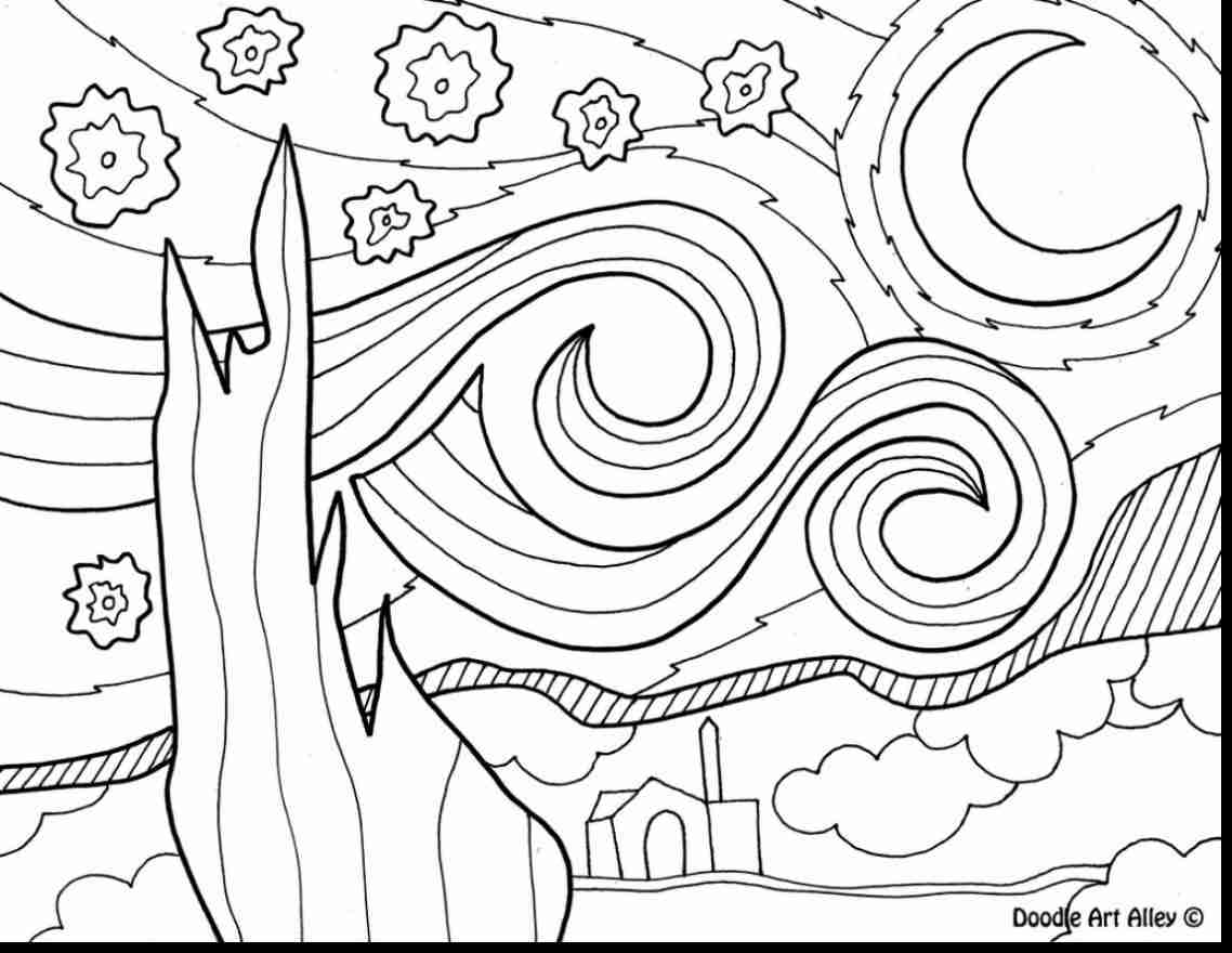 1138x880 Night Sky Coloring Pages Astounding Van Gogh Starry Page