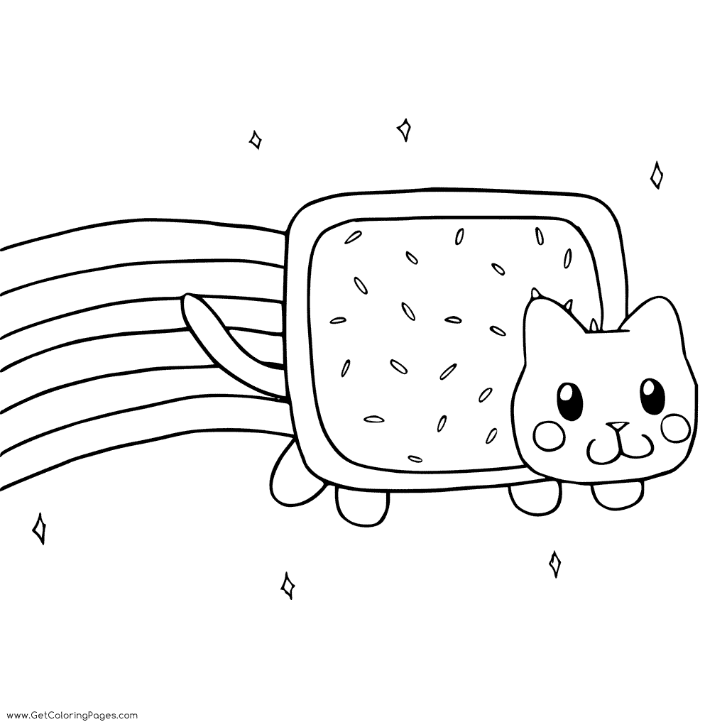 1024x1024 Nyan Cat In Sky Coloring Page