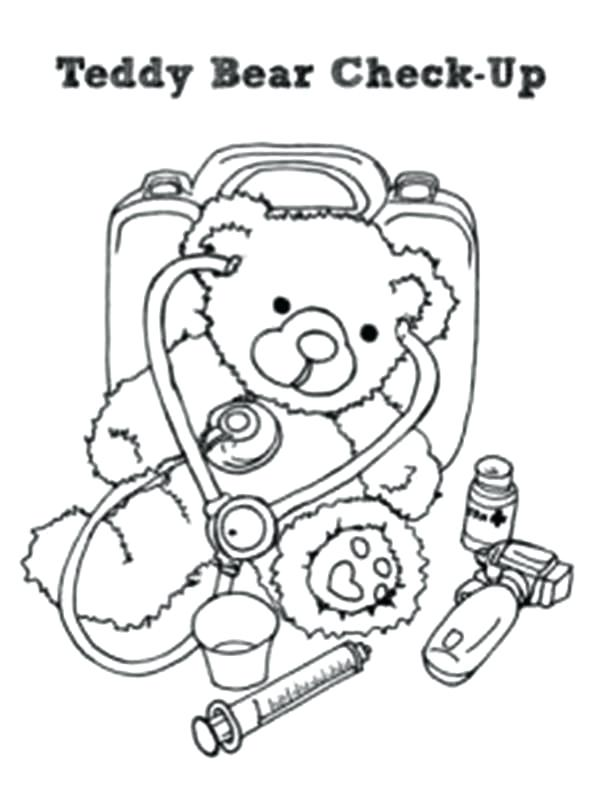 600x787 Doctor Coloring Page Teddy Bear Check Up His Medical Condition