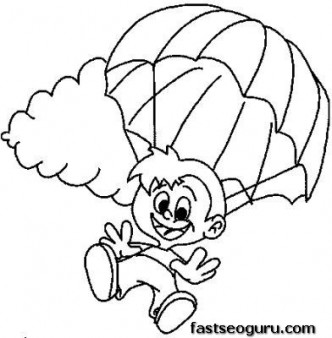 332x338 Children Skydiving Coloring Pages To Print Out