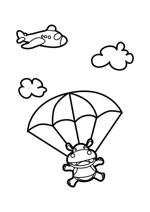 600x849 Skydiving Hippo Coloring Page
