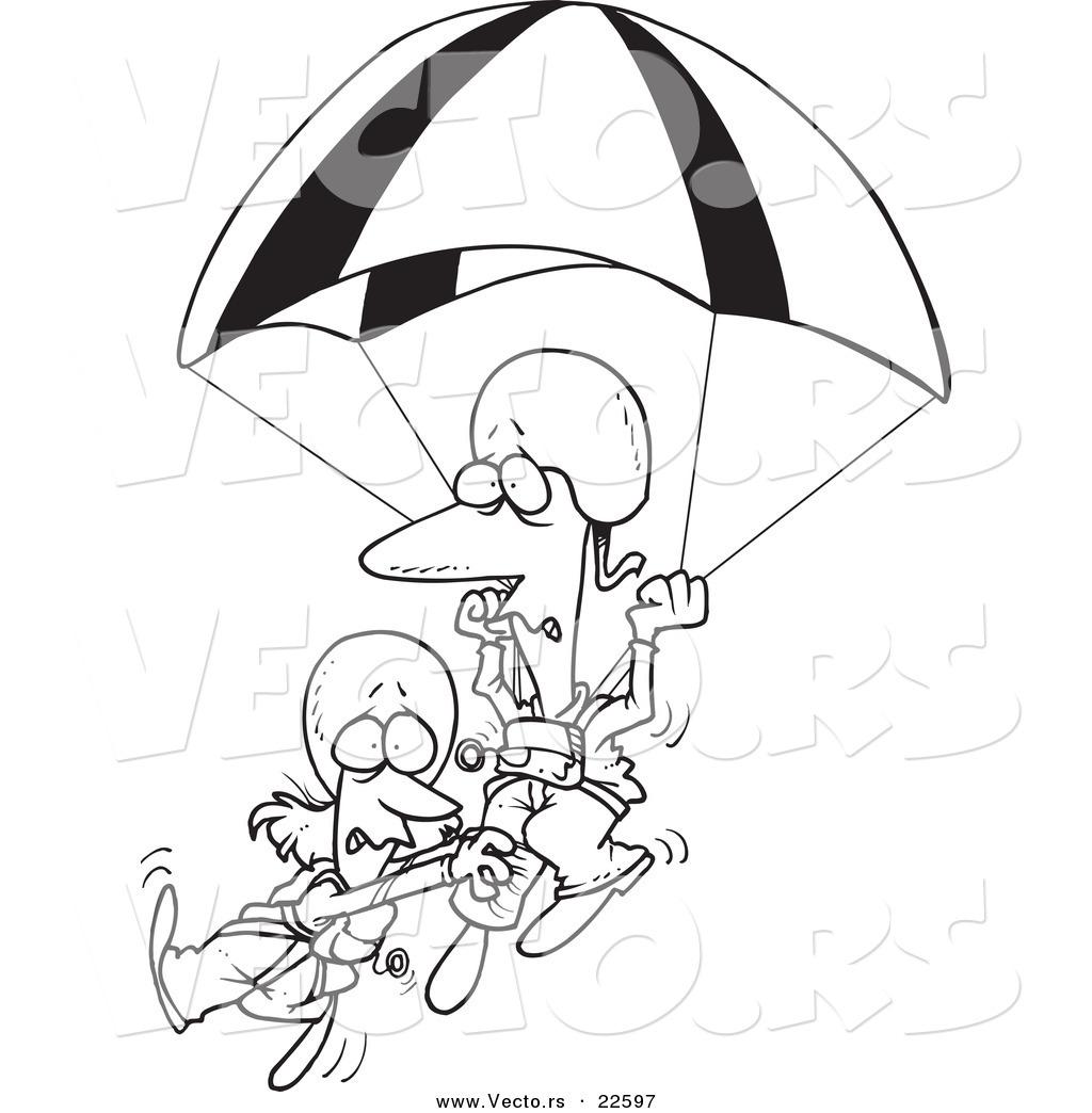 1024x1044 Vector Of A Cartoon Couple Parachuting