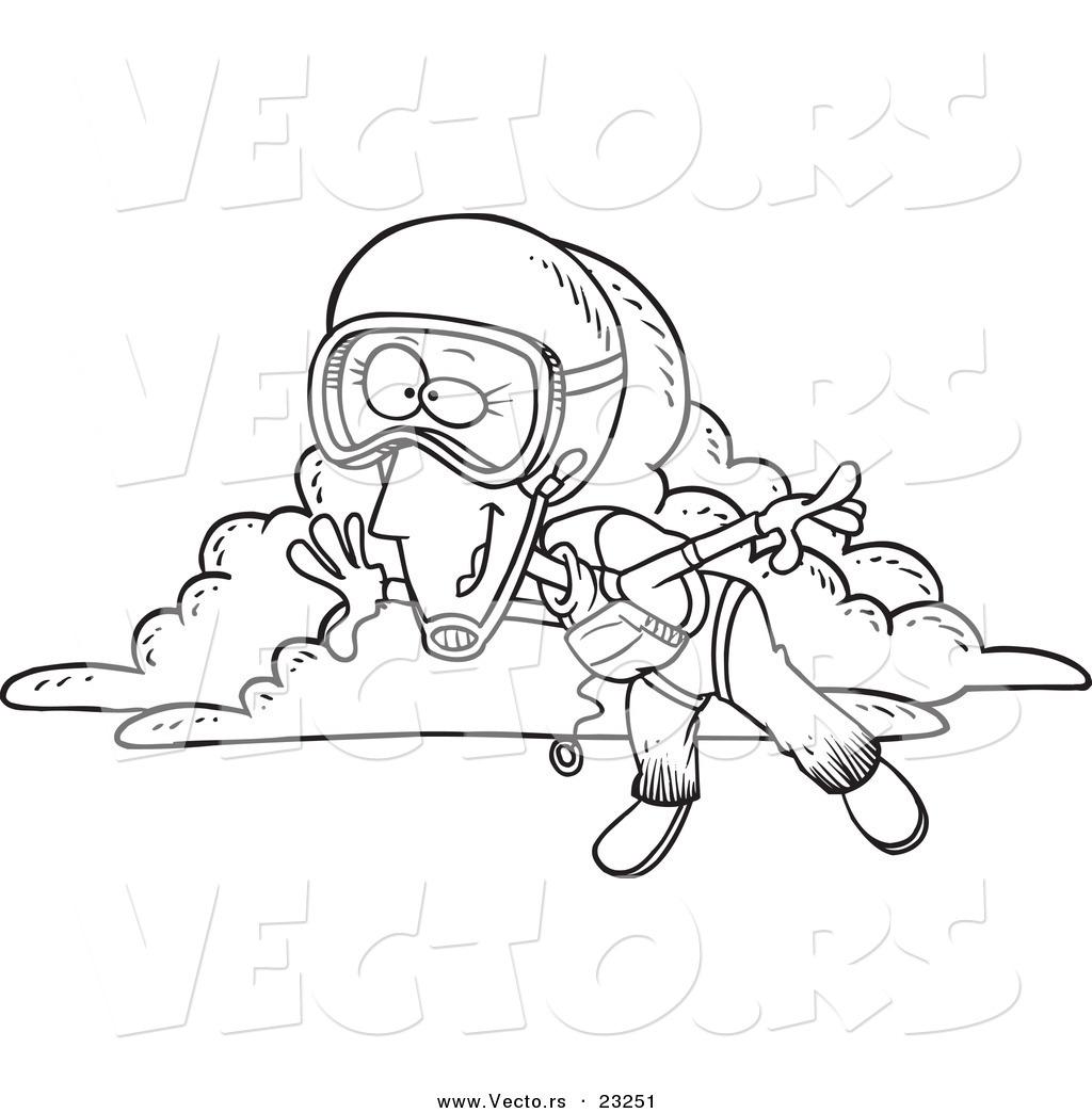 1024x1044 Vector Of A Cartoon Skydiving Woman