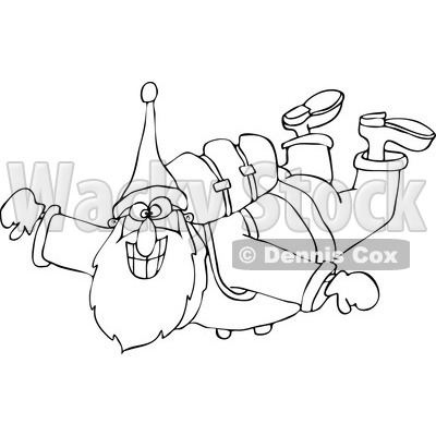 400x400 Clipart Of An Outlined Santa Free Falling While Skydiving