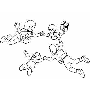300x300 Group Sky Diving Coloring Page