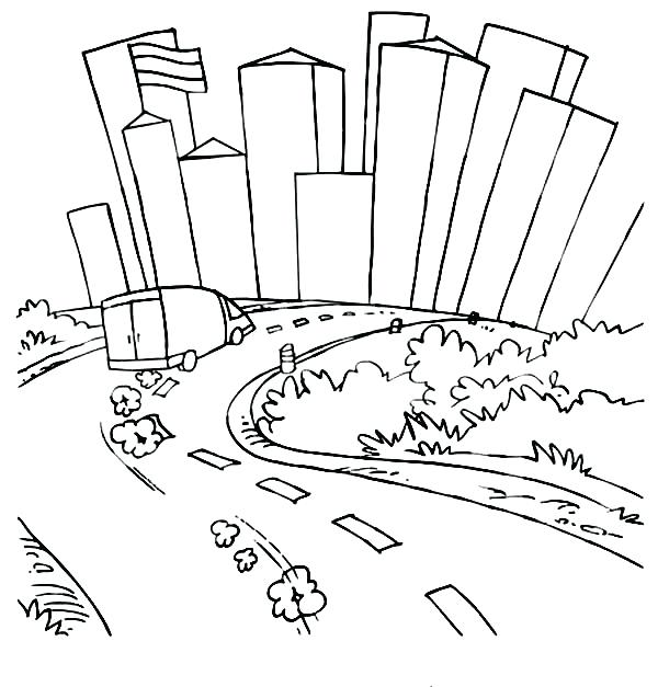 600x627 City Skyline Diorama Coloring Page City Street Coloring Pages Free