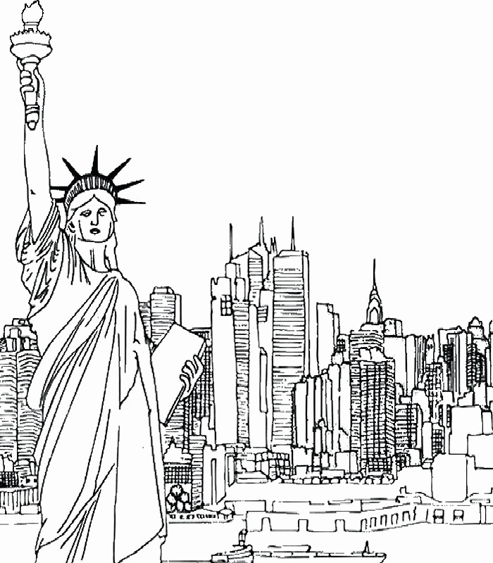700x800 New York Skyline Coloring Page New And Empire State Building More