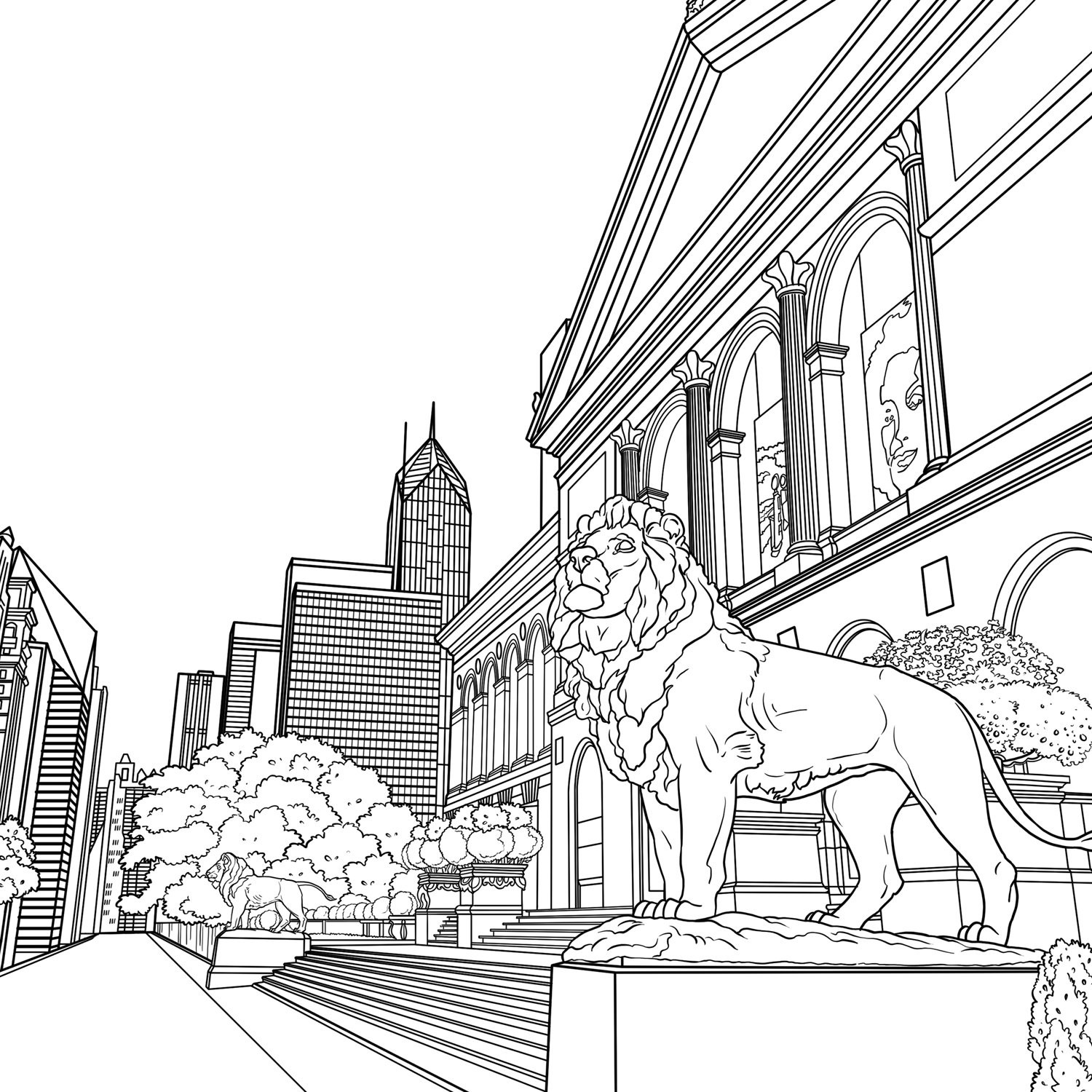 1500x1500 Chicago City Drawing Skyline Coloring Pages