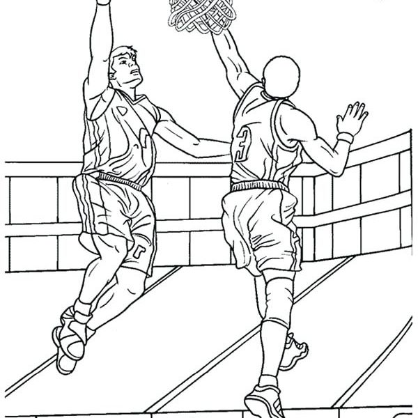 600x600 Basketball Coloring Sheets Basketball Color Page Basketball