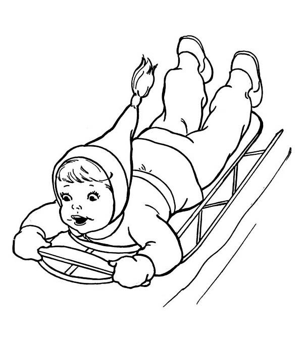 600x678 Brave Kid Sliding Down On Winter Sled Coloring Page Brave Kid