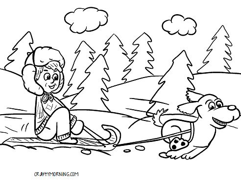 Sled Coloring Pages Printable