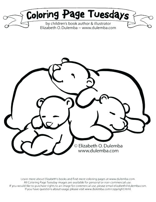 500x647 Sleeping Bear Coloring Page Hibernation Coloring Pages Bears
