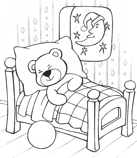 563x650 Sleeping Coloring Pages Sleeping Teddy Bear Coloring Pages