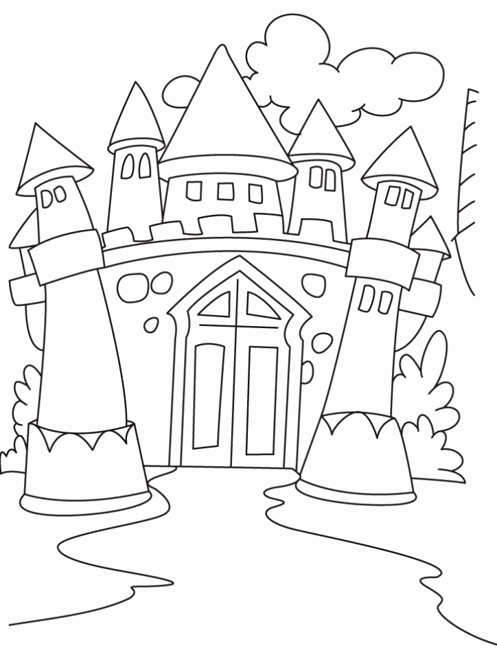 724x960 Sleeping Beauty Castle Coloring Pages