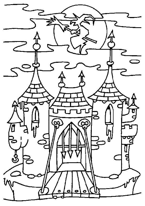 553x787 Witch On Castle Coloring Pages Coloring Pages