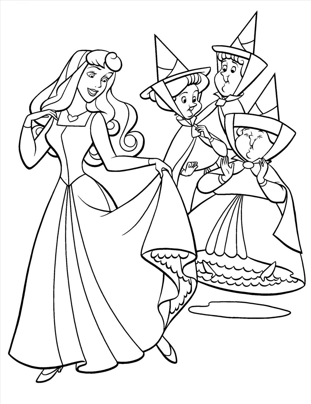 1024x1329 Sleeping Beauty With Animals Coloring Pages For Kids General