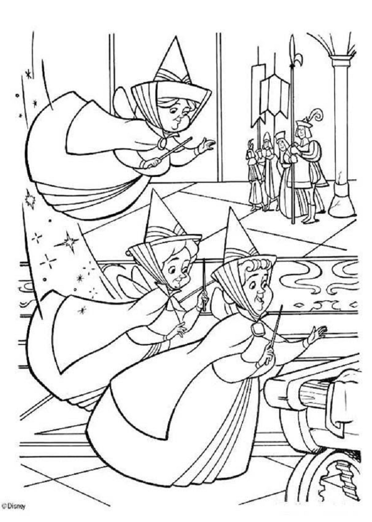 758x1062 Flora Fauna And Merryweather Coloring Pages Sleeping Beauty
