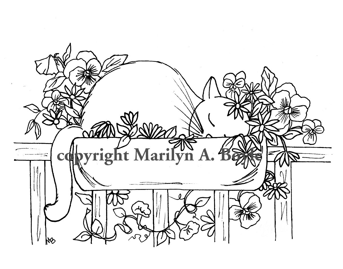 1200x942 Adult Coloring Page Digital Download, Cat, Flowers, Pansies