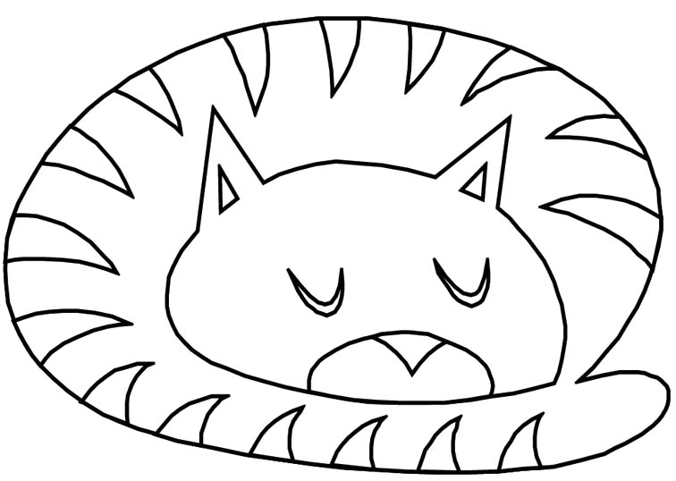 756x538 Sleeping Cat Coloring Pages