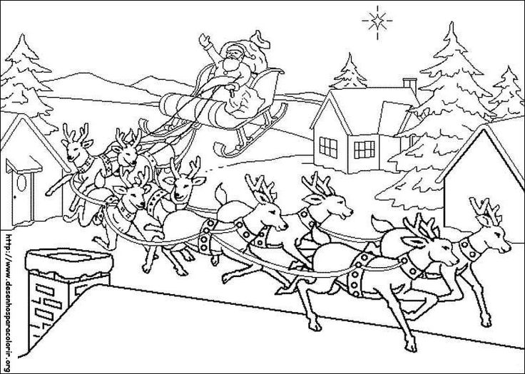 Sleigh And Reindeer Coloring Pages