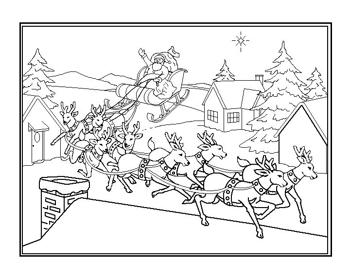 Sleigh And Reindeer Coloring Pages At Getdrawings Com Free