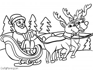 Sleigh And Reindeer Coloring Pages At Getdrawings Com Free For